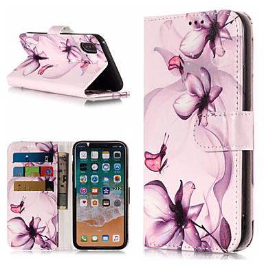 غطاء من أجل Apple iPhone X / iPhone 8 Plus / iPhone 8 محفظة / حامل البطاقات / مع حامل غطاء كامل للجسم زهور قاسي جلد PU