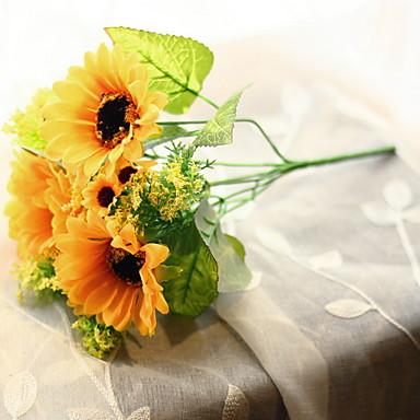زهور اصطناعية 1 فرع كلاسيكي زهري عباد الشمس أزهار الطاولة