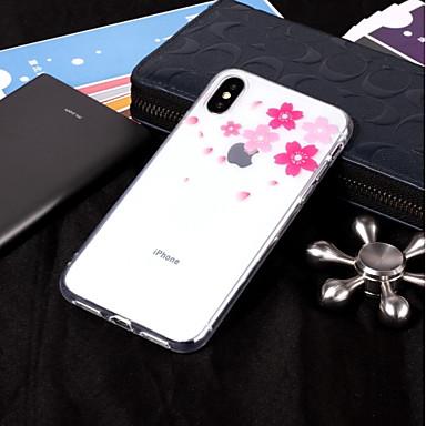 Недорогие Кейсы для iPhone-Кейс для Назначение Apple iPhone X / iPhone 8 Pluss / iPhone 8 IMD / Прозрачный / С узором Кейс на заднюю панель Цветы Мягкий ТПУ