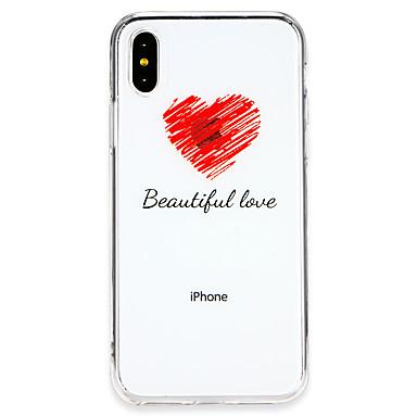 غطاء من أجل Apple iPhone X / iPhone 8 Plus / iPhone 8 نحيف جداً غطاء خلفي اللعب بشعار آبل / جملة / كلمة / قلب ناعم TPU