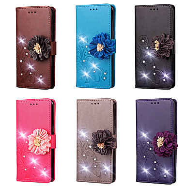 cheap Motorola Case-Case For Motorola Moto Z2 play / Moto Z / Moto Z Force Wallet / Card Holder / Rhinestone Full Body Cases Solid Colored / Flower Hard PU Leather