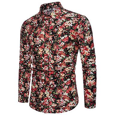 c27c7d6aee Homens Camisa Social Floral   Estampa Colorida Vermelho XXXL   Manga Longa  de 6729926 2019 por €17.33