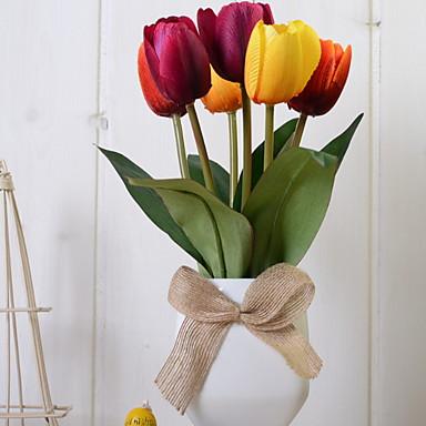 زهور اصطناعية 1 فرع كلاسيكي النمط الرعوي أزهار التولب أزهار الطاولة
