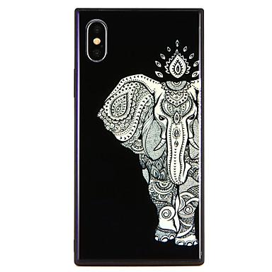 Недорогие Кейсы для iPhone 7 Plus-Кейс для Назначение Apple iPhone X / iPhone 8 Pluss / iPhone 8 С узором Бампер Животное / Слон Твердый Закаленное стекло