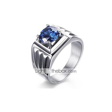 رجالي عصابة الفرقة أزرق ياقوتي مكعب زركونيا 1PC أزرق الفولاذ المقاوم للصدأ الكورية موضة زفاف مناسب للحفلات مجوهرات حول
