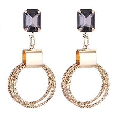 نسائي الماس الاصطناعي أقراط قطرة سيدات أنيق الأقراط مجوهرات ذهبي من أجل حفل / مساء مناسب للخارج 1 زوج