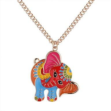 نسائي قلائد الحلي طويل فيل سيدات عتيق كرتون موضة سبيكة ذهبي فضي 62+5 cm قلادة مجوهرات 1PC من أجل مناسب للبس اليومي شارع