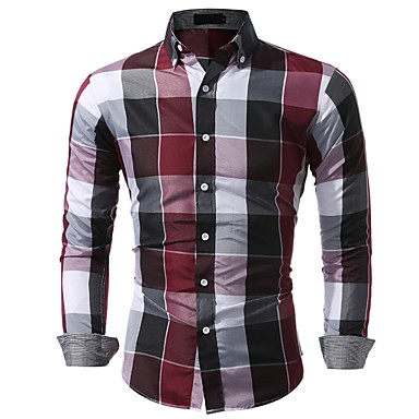 povoljno Muške košulje-Majica Muškarci Pamuk Karirani uzorak Klasični ovratnik Plava