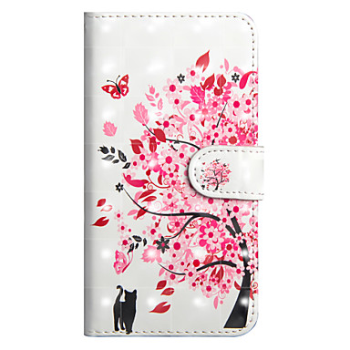 cheap iPhone Cases-Case For Apple iPhone X / iPhone 8 Plus / iPhone 8 Wallet / Card Holder / with Stand Full Body Cases Tree Hard PU Leather