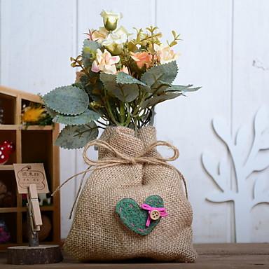 زهور اصطناعية 1 فرع كلاسيكي فردي زهري عتيق الورود أزهار الطاولة