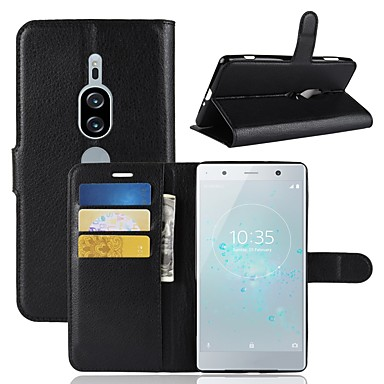 غطاء من أجل Sony Xperia XZ2 Compact / Sony Xperia XZ2 Premium / Xperia XZ2 محفظة / حامل البطاقات / قلب غطاء كامل للجسم لون سادة قاسي جلد PU