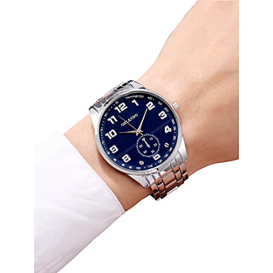 رجالي ساعة المعصم كوارتز ستانلس ستيل فضة الكرونوغراف ساعة كاجوال طرد كبير مماثل سوار الحد الأدنى - أبيض أسود أزرق سنة واحدة عمر البطارية