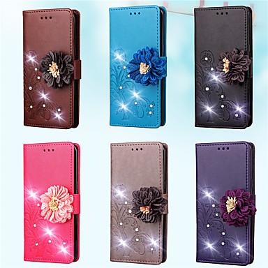 Недорогие Чехлы и кейсы для Galaxy S-Кейс для Назначение SSamsung Galaxy S7 edge / S7 / S5 Mini Кошелек / Бумажник для карт / Стразы Чехол Однотонный / Цветы Твердый Кожа PU