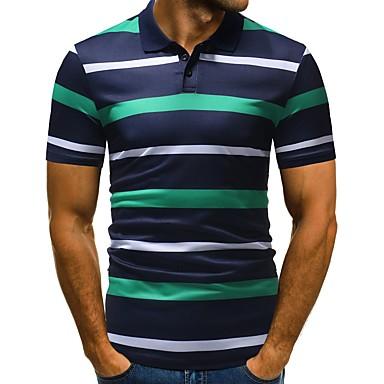 رجالي عمل الأعمال التجارية / أساسي طباعة قطن بولو ستايل, مخطط قبعة القميص نحيل / كم قصير