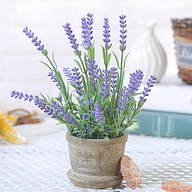 زهور اصطناعية 1 فرع كلاسيكي فردي زهري عتيق أزرق فاتح أزهار الطاولة