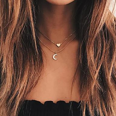 نسائي عقد متعدد الطبقات MOON قلب الهلال بسيط أوروبي موضة سبيكة ذهبي 38 cm قلادة مجوهرات 1PC من أجل فضفاض