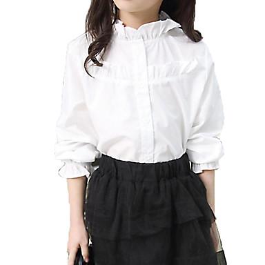 Недорогие Топы для девочек-Дети Девочки Классический Уличный стиль Повседневные Однотонный Оборки Длинный рукав Хлопок Рубашка Белый