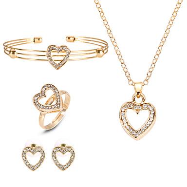 رخيصةأون أطقم المجوهرات-نسائي عقد حلقات أسورة Cross Body قلب أوروبي موضة حجر الراين الأقراط مجوهرات ذهبي من أجل مناسب للحفلات / خاتم