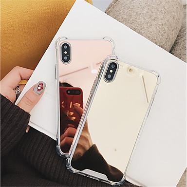 Недорогие Кейсы для iPhone 6 Plus-Кейс для Назначение Apple iPhone X / iPhone 8 Pluss / iPhone 8 Защита от удара / Зеркальная поверхность Кейс на заднюю панель Однотонный Твердый ПК