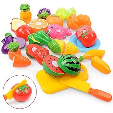 مجموعات لعبة مطبخ لعب تمثيلي لعب المطبخ مأكولات فاكهة التفاعل بين الوالدين والطفل قذيفة البلاستيك للأطفال مرحلة ما قبل المدرسة للصبيان للفتيات ألعاب هدية 18 pcs
