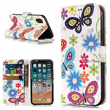 غطاء من أجل Apple iPhone X / iPhone 8 Plus / iPhone 8 محفظة / حامل البطاقات / مع حامل غطاء كامل للجسم فراشة / زهور قاسي جلد PU