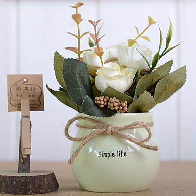 زهور اصطناعية 1 فرع كلاسيكي زهري الحديث الورود أزهار الطاولة