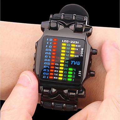 Недорогие Часы на металлическом ремешке-Муж. Спортивные часы Армейские часы электронные часы Цифровой Роскошь Творчество Цифровой Черный Серебряный / Один год / Нержавеющая сталь / Нержавеющая сталь / Японский / Светящийся