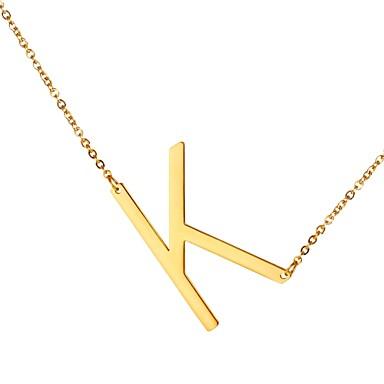 رجالي قلائد الحلي اسم Alphabet Shape موضة ستانلس ستيل ذهبي أسود فضي 51 cm قلادة مجوهرات 1PC من أجل هدية مناسب للبس اليومي