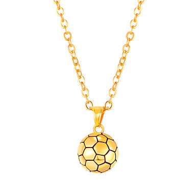 رجالي قلائد الحلي طويل كرة كرة موضة الفولاذ المقاوم للصدأ ذهبي أسود فضي 55 cm قلادة مجوهرات 1PC من أجل هدية مناسب للبس اليومي