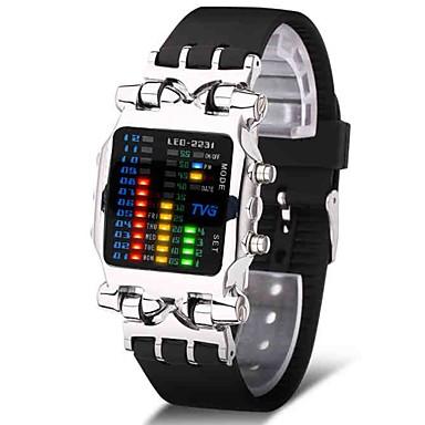 رجالي ساعة رياضية ساعة عسكرية ساعة رقمية ياباني رقمي ستانلس ستيل أسود 30 m إبداعي تصميم جديد مضيء رقمي ترف سوار - أسود فضي سنة واحدة عمر البطارية / Maxell CR2025