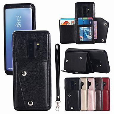 غطاء من أجل Samsung Galaxy S9 / S9 Plus / S8 Plus حامل البطاقات غطاء كامل للجسم لون سادة قاسي جلد PU