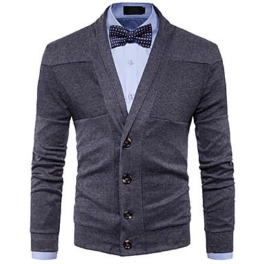 abordables Pulls & Cardigans pour Homme-Homme Quotidien Couleur Pleine Manches Longues Normal Cardigan Pull pull, Col de Chemise Noir / Rouge / Gris Foncé M / L / XL