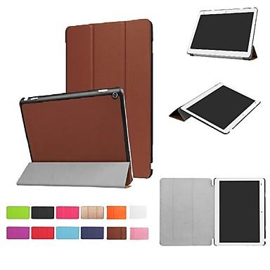 غطاء من أجل Huawei Huawei MediaPad M3 Lite 10 مع حامل / مغناطيس غطاء كامل للجسم لون سادة قاسي جلد PU