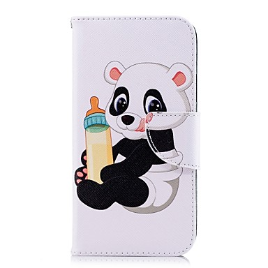 Недорогие Кейсы для iPhone X-Кейс для Назначение Apple iPhone X / iPhone 8 Pluss / iPhone 8 Кошелек / Бумажник для карт / со стендом Чехол Панда Твердый Кожа PU