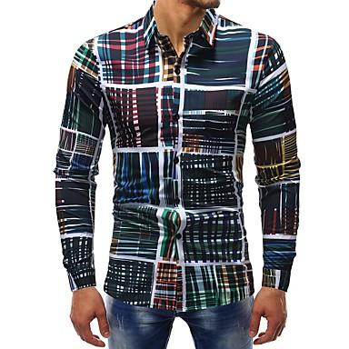 رخيصةأون قمصان رجالي-رجالي أساسي طباعة قطن قميص, منقوش / كم طويل