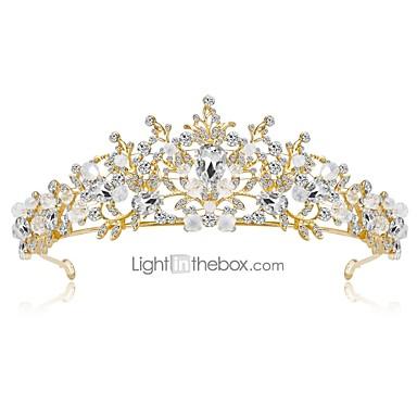 olcso Hajékszerek-Női Virágos Elegáns Strassz Arannyal bevont Ötvözet Kocka cirkónia Diadémek homlok Crown Esküvő Parti / Diadémek