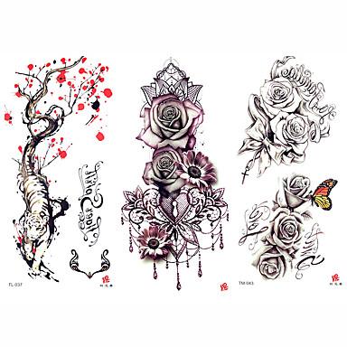 3 pcs الوشم المؤقت سلسلة الزهور / سلسلة رومانسية ملصقات مصقولة / الأمان الفنون الجسم ذراع / كتف / الوشم المؤقت على غرار صائق