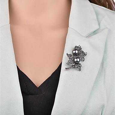 رخيصةأون بروشات-نسائي دبابيس 3D وردة سيدات عتيق أوروبي لؤلؤ تقليدي بروش مجوهرات أسود من أجل حفلة ليلية المكتب & الوظيفة