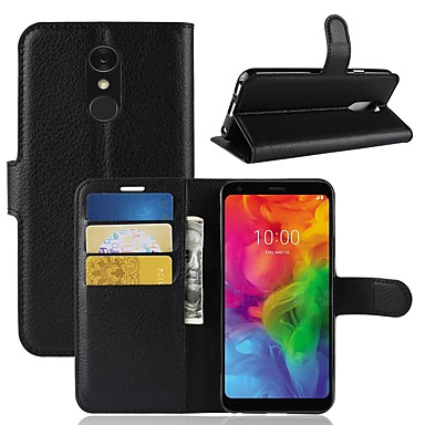 Недорогие Чехлы и кейсы для LG-Кейс для Назначение LG LG X venture / LG V30 / LG V20 MINI Кошелек / Бумажник для карт / Флип Чехол Однотонный Твердый Кожа PU / LG G6
