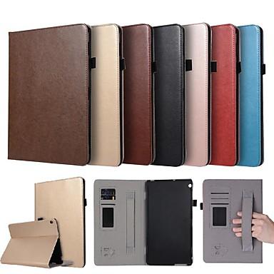 غطاء من أجل Huawei Huawei MediaPad M3 Lite 10 حامل البطاقات / مع حامل / مغناطيس غطاء كامل للجسم لون سادة قاسي جلد PU