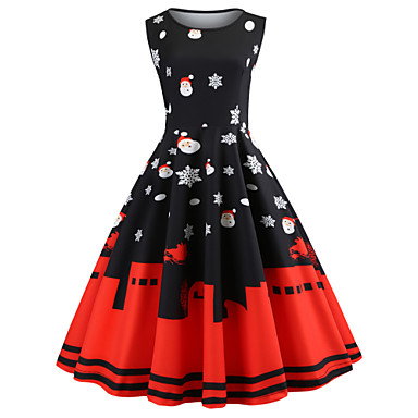 Christmas Dress.20 39 Dress Christmas Dress Santa Clothes Adults Women S Dresses Christmas Christmas New Year Festival Holiday Polyster Red Black Carnival