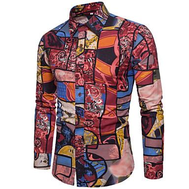 رجالي أساسي طباعة قميص, ألوان متناوبة / كم طويل / الربيع