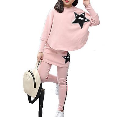 مجموعة ملابس كم طويل لون سادة أساسي للفتيات أطفال