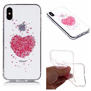 رخيصةأون أغطية أيفون-غطاء من أجل Apple iPhone X / iPhone 8 Plus / iPhone 8 IMD / شفاف / نموذج غطاء خلفي قلب / زهور ناعم TPU