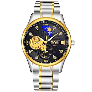 Недорогие Часы на металлическом ремешке-BOSCK Муж. Механические часы С автоподзаводом Роскошь Защита от влаги Аналоговый Золотистый Белый Черный / Нержавеющая сталь / С гравировкой / Фосфоресцирующий