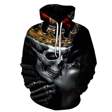 رخيصةأون كنزات هودي رجالي-رجالي أساسي / مبالغ فيه قياس كبير فضفاض بنطلون - 3D / جماجم طباعة أسود / مع قبعة / الرياضة / كم طويل / الخريف / الشتاء