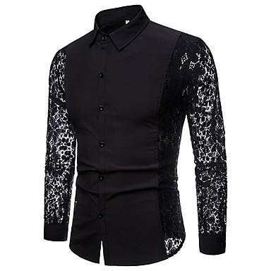 رخيصةأون قمصان رجالي-رجالي نادي ترف / أساسي دانتيل / مقصوص / بقع قميص, لون سادة / كم طويل