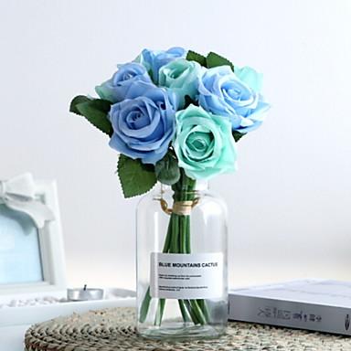 زهور اصطناعية 1 فرع كلاسيكي فردي أنيق الورود أزهار الطاولة