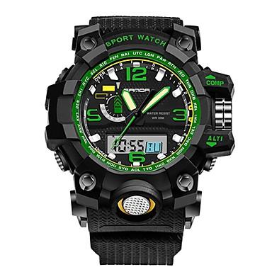 رخيصةأون ساعات الرجال-SANDA رجالي ساعة رياضية ساعة رقمية ياباني رقمي أسود 30 m مقاوم للماء رزنامه ساعة التوقف تناظري-رقمي ترف موضة - أخضر أزرق ذهبي / قضية / المرحلة القمر