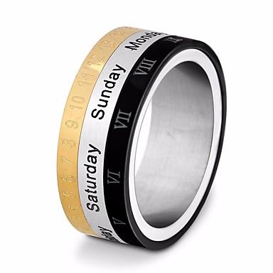 رجالي خاتم بأصابيع متعددة 1PC ذهبي-أسود الصلب التيتانيوم دائري أنيق / تصميم فريد / أوروبي شارع / مناسب للخارج مجوهرات